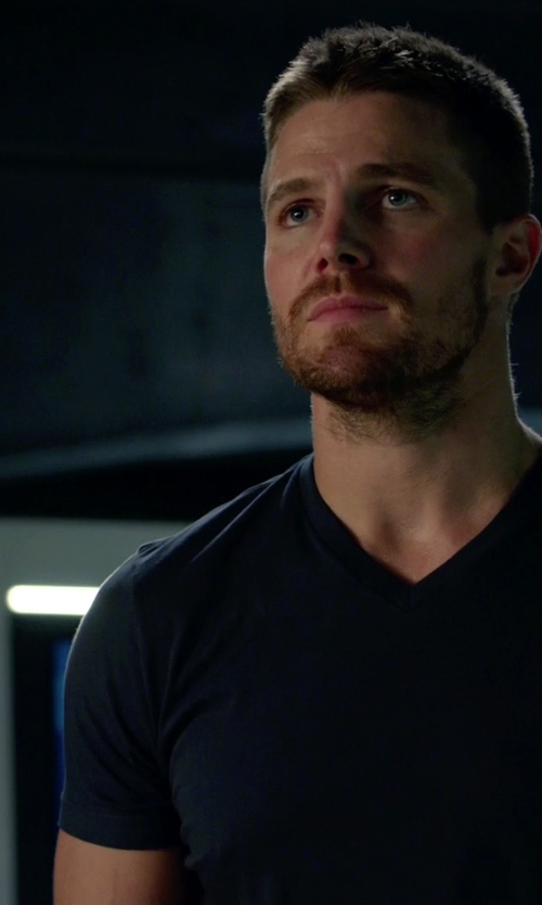 Stephen Amell with James Perse V-Neck Jersey T-Shirt in Arrow