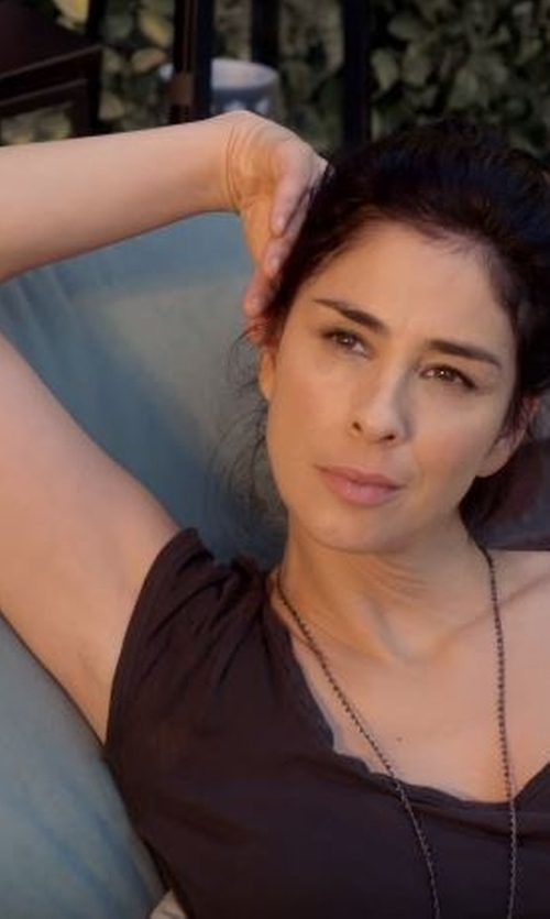 Sarah Silverman with Peace Love World Love Life V-Neck Tee in Lady Dynamite