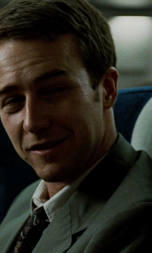 Edward Norton with Hugo Boss Grand Central Pindot Two-Piece Suit in Fight Club