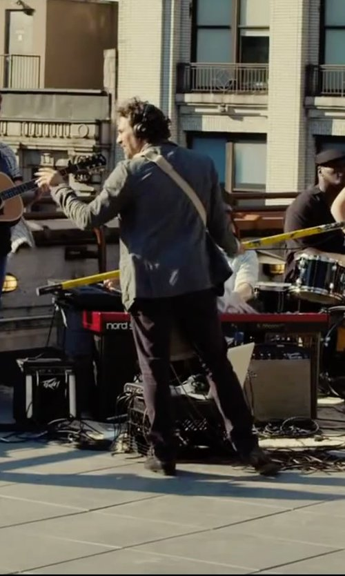Mark Ruffalo with Boss Hugo Boss Sharp Flat Front Wool Trousers in Begin Again