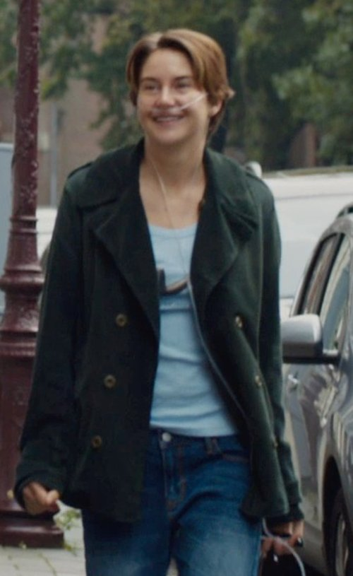 Shailene Woodley with PIERRE BALMAIN double breasted jacket in The Fault In Our Stars