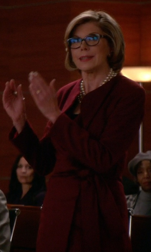 Christine Baranski with Lanvin Belted Coat in The Good Wife