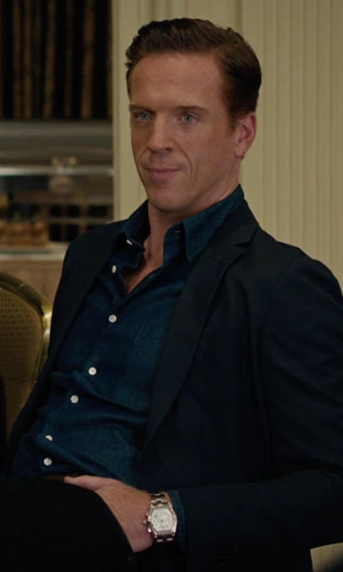 Damian Lewis with Cartier W6206019 Roadster Chronograph Silver Dial Watch in Billions