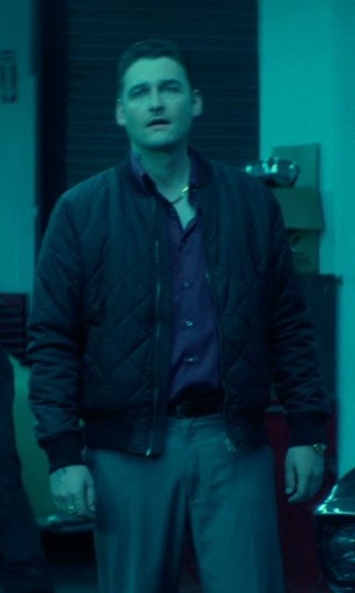 Toby Leonard Moore with Lot78 Quilted Leather Bomber Jacket in John Wick