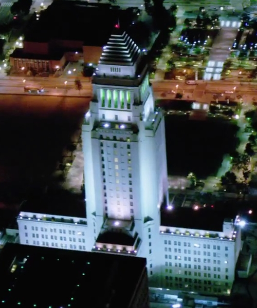 Unknown Actor with Los Angeles City Hall Los Angeles, California in Secret in Their Eyes