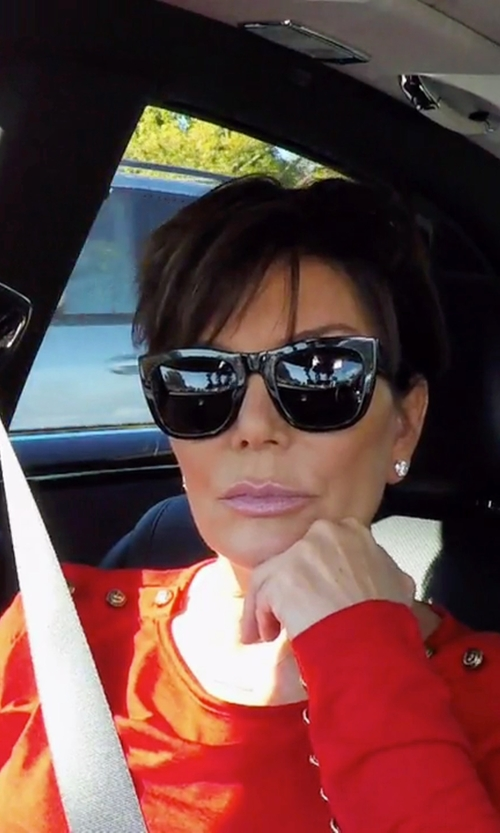Kris Jenner with Valentino Rockstud Oversized Square Sunglasses in Keeping Up With The Kardashians