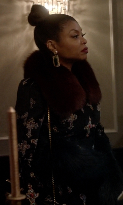 Taraji P. Henson with Versace Velvet Gothic Cross Print Flared Coat in Empire