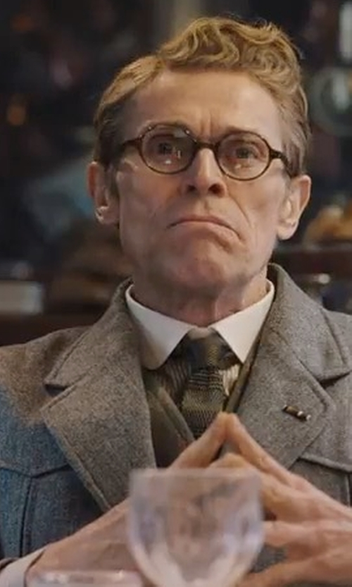 Willem Dafoe with Stefano Ricci Contrast-Collar Striped Dress Shirt in Murder on the Orient Express