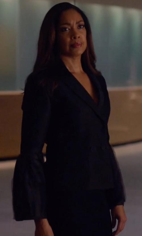 Gina Torres with Roksanda Silk-Wool Bell Sleeves Jacket in Suits