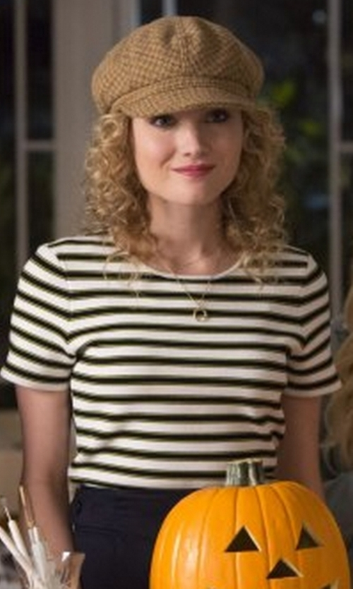 Skyler Samuels with T by Alexander Wang Striped T-Shirt in Scream Queens