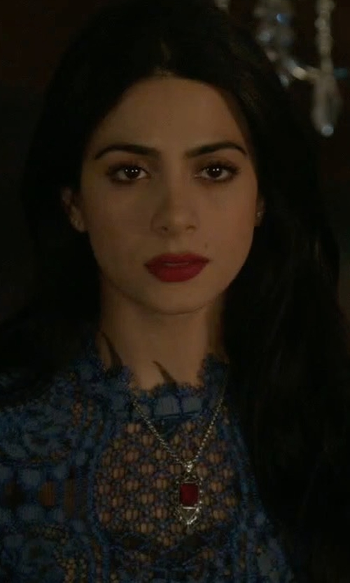 Emeraude Toubia with Alexis Delila 3/4-Sleeve Lace Midi Dress in Shadowhunters