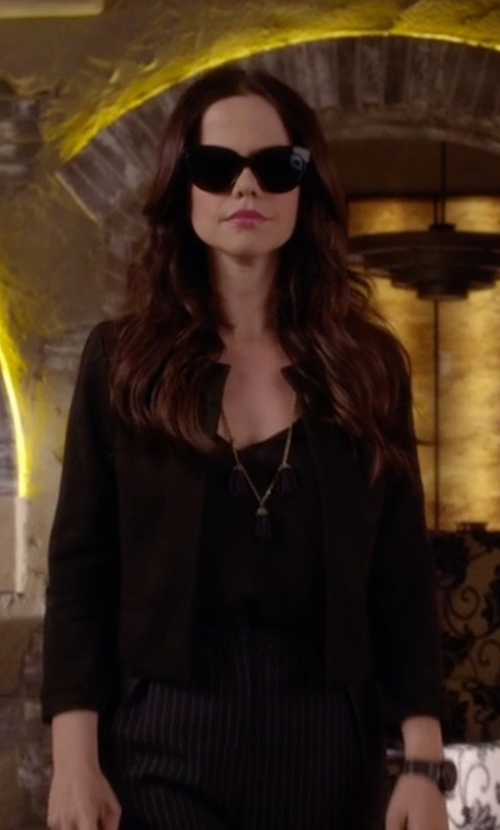 Tammin Sursok with Eileen Fisher Silk Organic Cotton Interlock Boxy Jacket in Pretty Little Liars