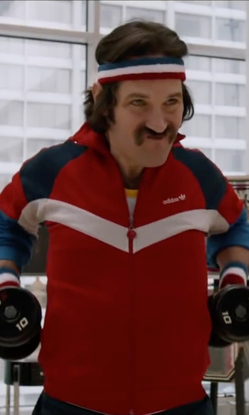 Paul Rudd with Adidas Warm Up Jacket Red White And Blue Track Style in Anchorman 2: The Legend Continues