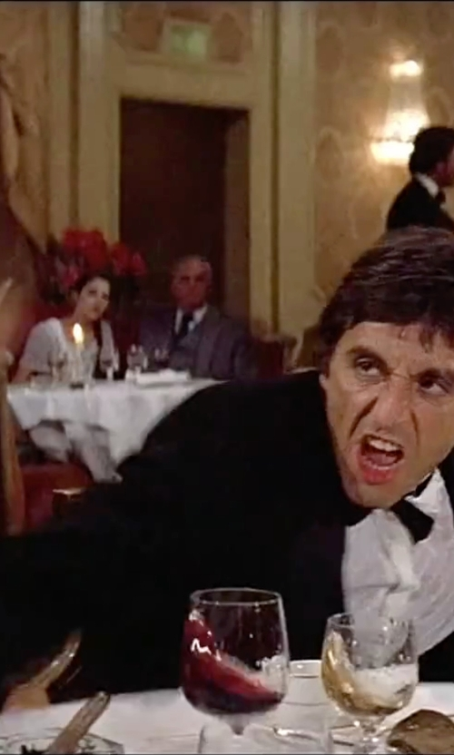 Al Pacino with Ralph Lauren Anthony Notch Lapel Tuxedo in Scarface