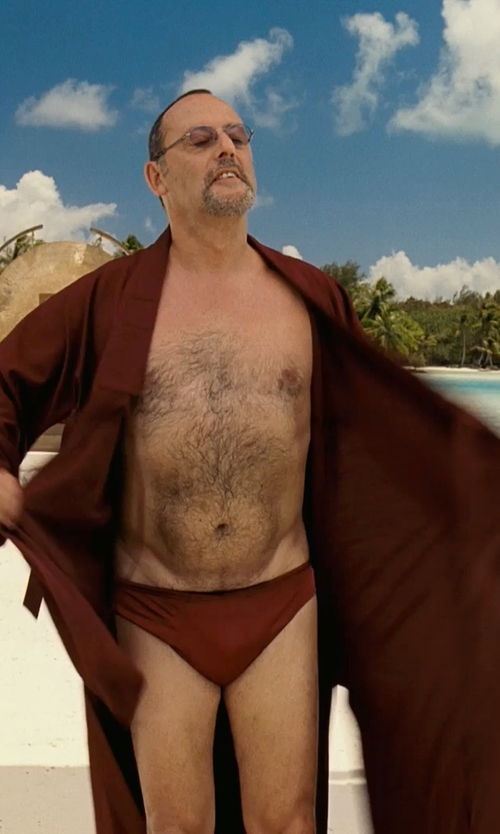 Jean Reno with Neiman Marcus Men's Plaid Cotton Robe in Couple's Retreat