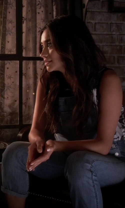 Shay Mitchell with Paige Sierra Overall Jumpsuit in Pretty Little Liars