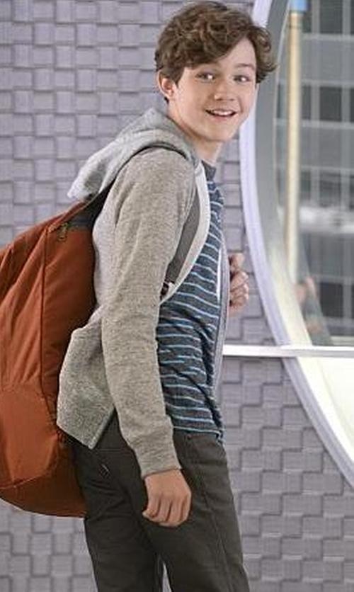 Levi Miller with Volcom Zip-Front Hoodie Jacket in Supergirl