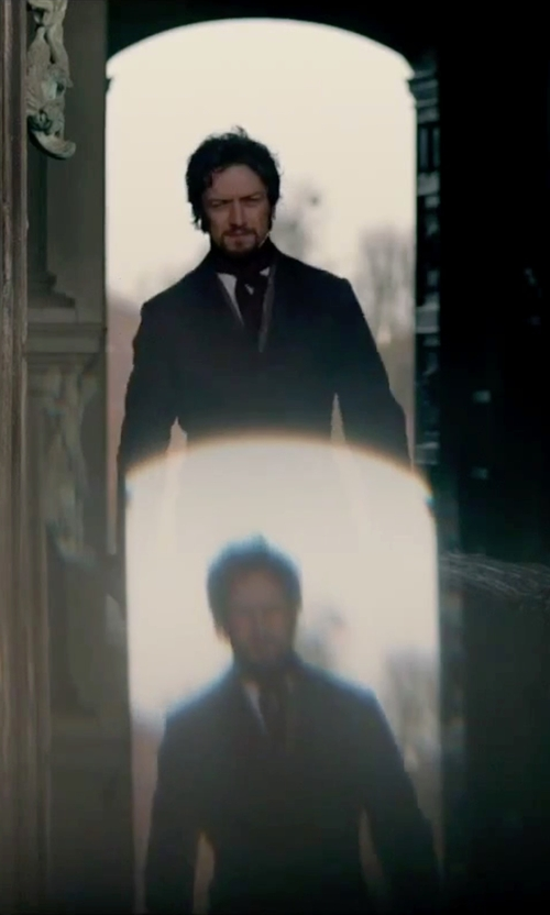 James McAvoy with Forzieri Polkadot Printed Twill Silk Ascot Tie in Victor Frankenstein