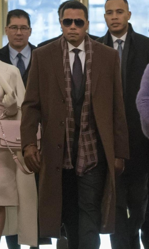Terrence Howard  with The Kooples Double Faced Wool Coat in Empire