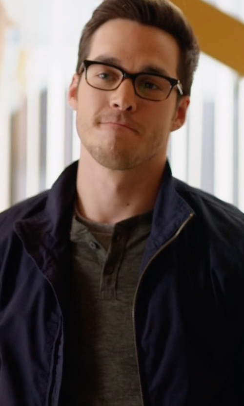 Chris Wood with Hugo Boss Solid Two-Way Zip Jacket in Supergirl