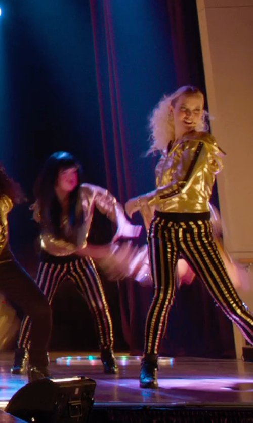 Kelley Jakle with Betabrand Gold Reversible Disco Hoodie in Pitch Perfect 2