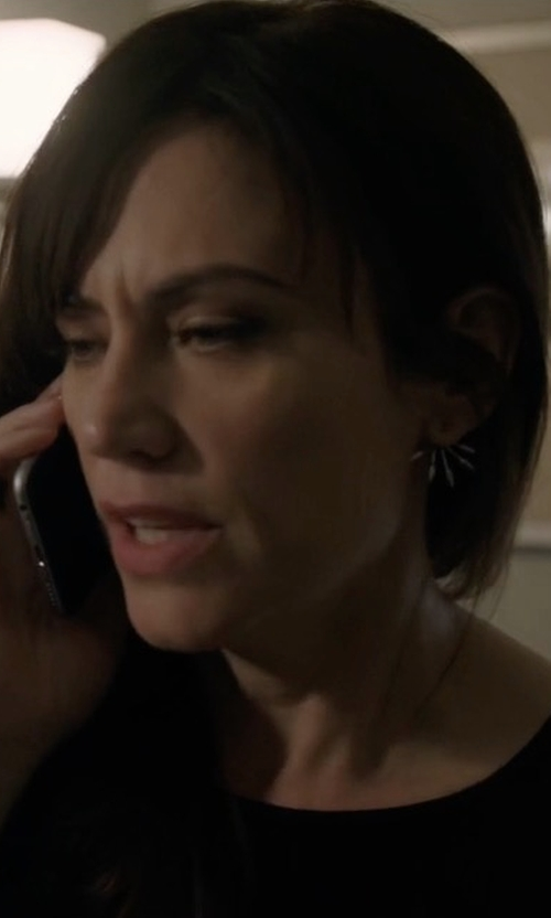 Maggie Siff with Pamela Love Five Spike Earrings in Billions