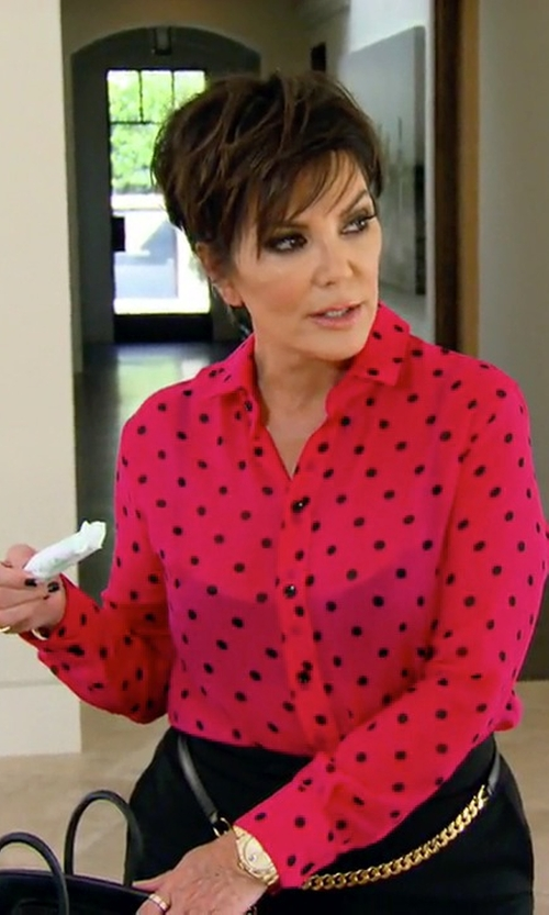 Kris Jenner with Saint Laurent Polka-Dot Silk Blouse in Keeping Up With The Kardashians