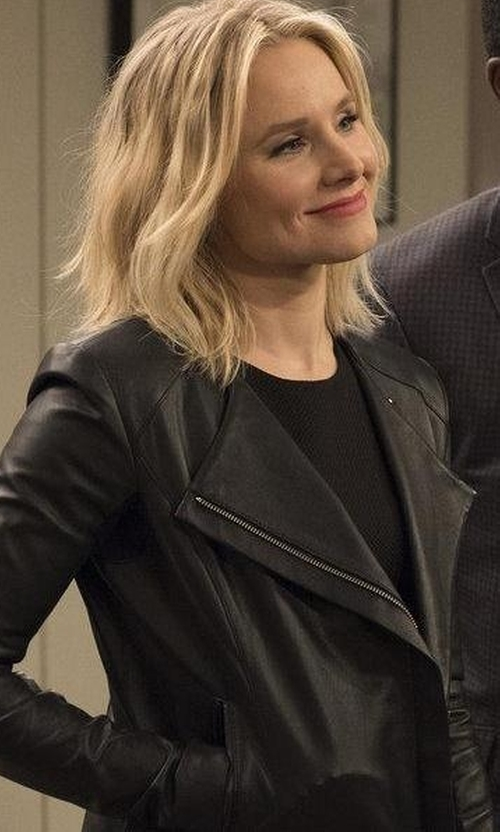 Kristen Bell with Veda Dali Lambskin Leather Jacket in The Good Place