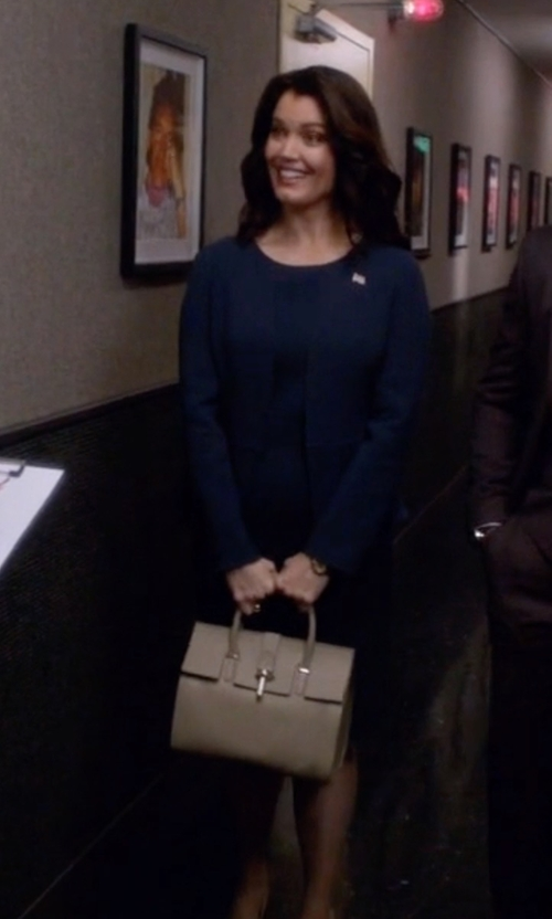Bellamy Young with Balenciaga Pebbled Leather 'Tube Round' Large Tote Bag in Scandal