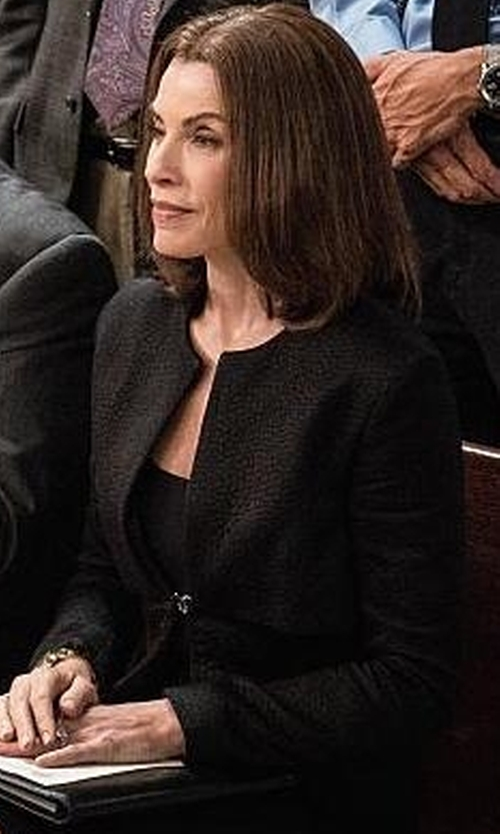 Julianna Margulies with Tru Trussardi Round Collar Blazer in The Good Wife