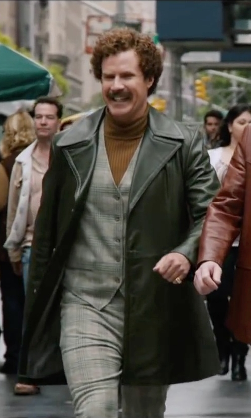 Will Ferrell with Sydneysvintageclothing Vintage 70's Hunter Green Leather Belted Car Coat Jacket in Anchorman 2: The Legend Continues