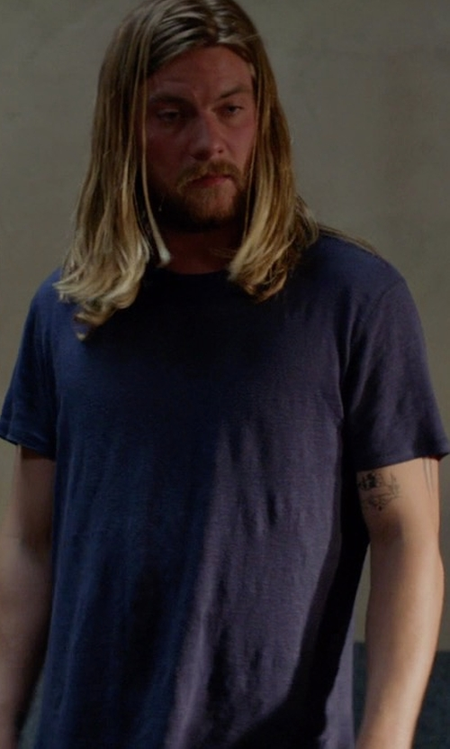 Jake Weary with Sunspel Crew-Neck Cotton-Jersey T-Shirt in Animal Kingdom