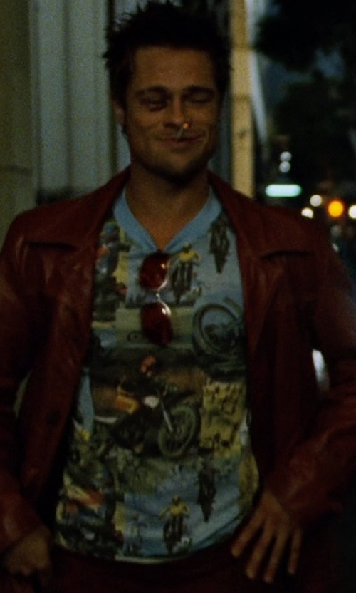 Brad Pitt with American Ringer Suzuki Roadracing Motorcycle Champion T-Shirt in Fight Club