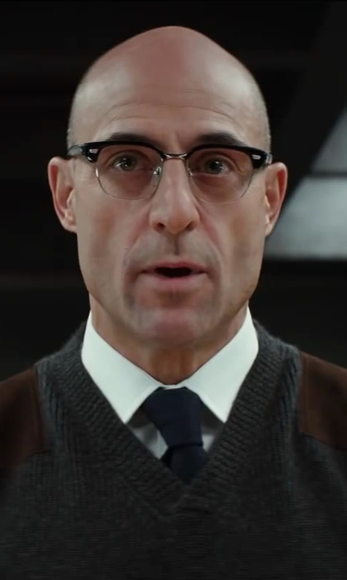 Mark Strong with Cutler & Gross 0755 Frame Eyeglasses - Black in Kingsman: The Secret Service