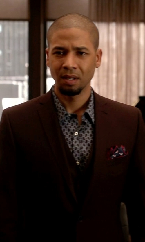 Jussie Smollett with Asos Slim Fit Suit Jacket In Burgundy Pindot in Empire