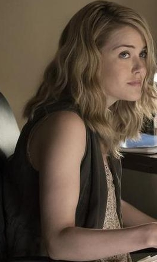 Megan Boone with Karen Kane Faux Suede Vest in The Blacklist