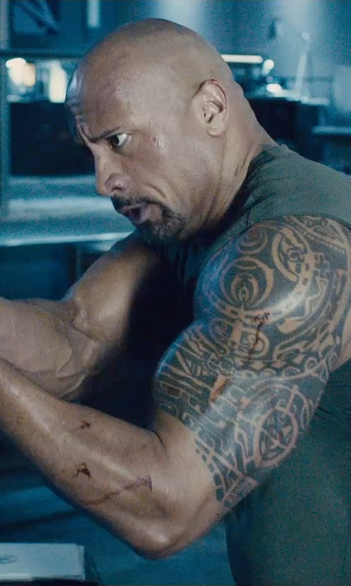 Dwayne Johnson with Under Armour Sleeveless Training T-Shirt in Furious 7