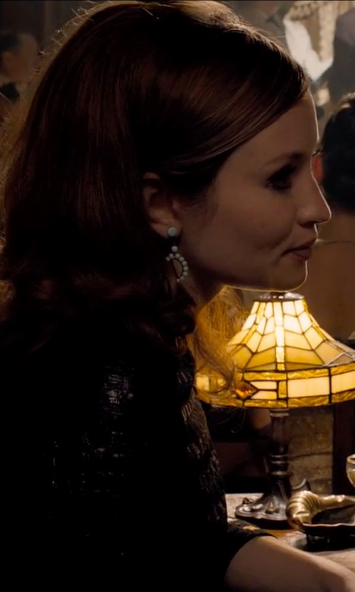 Emily Browning with Flying Lizard Beaded Tabitha Hoops Earrings in Legend