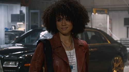 Nathalie Emmanuel with Bijoux du Monde Teardrop Turquoise Necklace in The Fate of the Furious
