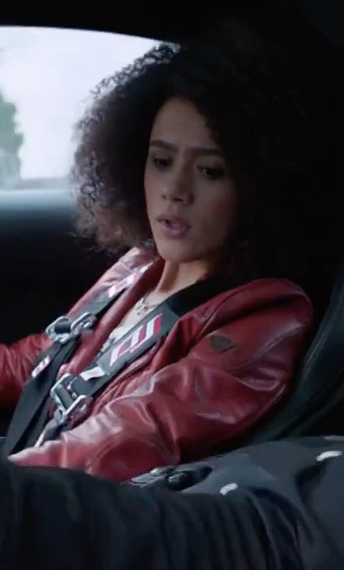 Nathalie Emmanuel with Iro Han Leather Moto Jacket in The Fate of the Furious