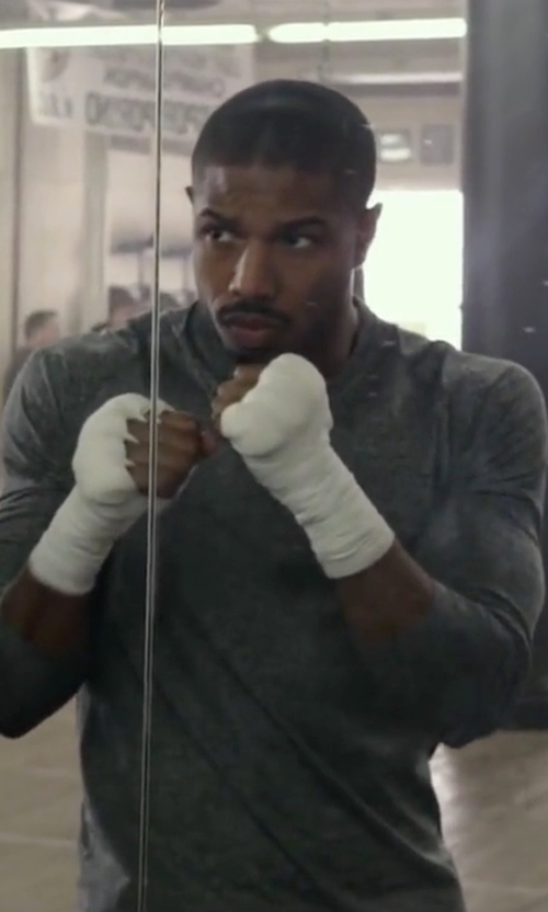 Michael B. Jordan with Nike Dri-FIT Knit Long-Sleeve Shirt in Creed
