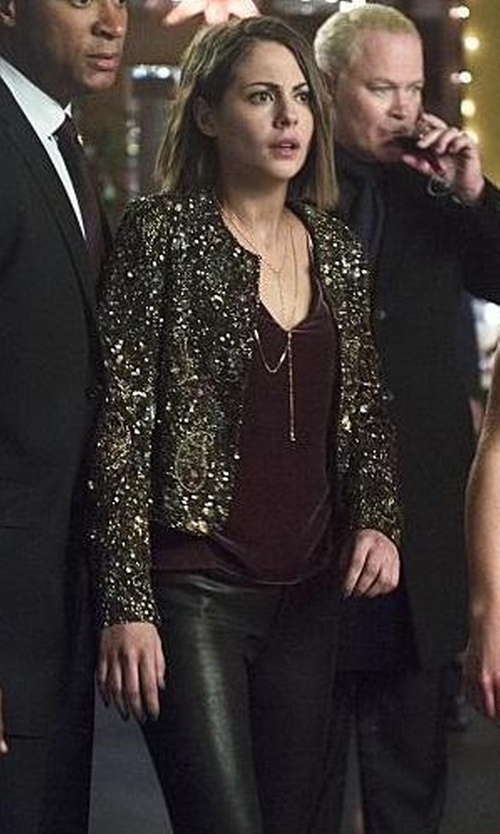 Willa Holland with BLANKNYC Faux Leather Skinny Pants in Arrow