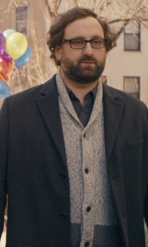 Eric Wareheim with St. John's Bay Neppy Shawl-Collar Cardigan in Master of None