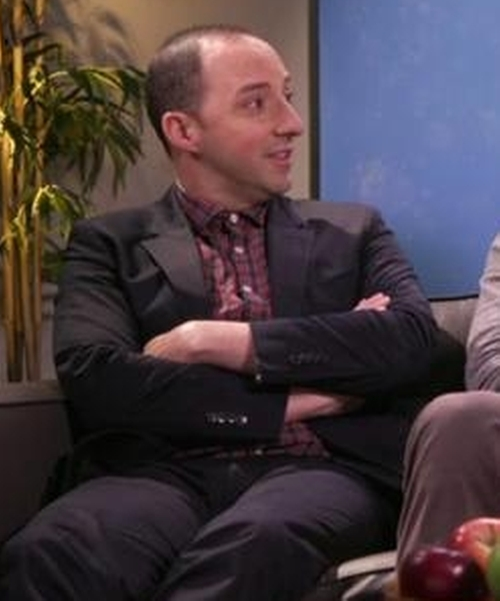 Tony Hale with Thomas Dean Men's Checked Button-Front Shirt in Chelsea