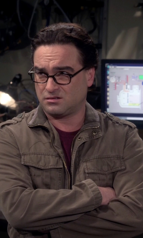 Johnny Galecki with Off-White Cotton Field Jacket in The Big Bang Theory