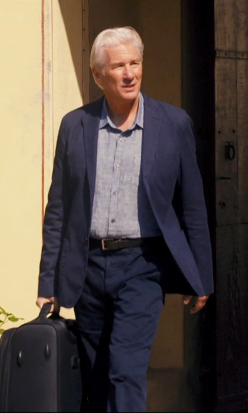Richard Gere with Versace Collection Medusa Leather Belt in The Second Best Exotic Marigold Hotel