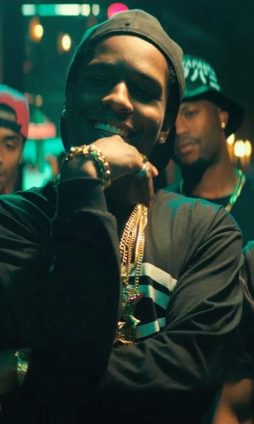 ASAP Rocky with Versace Bijoux Triple Chain Medusa Bracelet in Dope