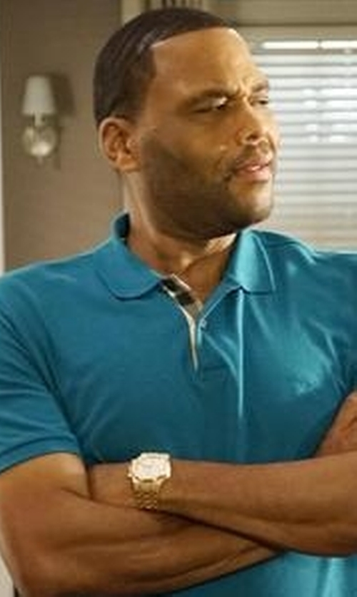 Anthony Anderson with Lucien Piccard Vertex Chronograph Gold-Tone Steel White Dial Tachymeter Watch in Black-ish