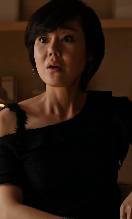 Yunjin Kim with Proenza Schouler Off-The-Shoulder Ruffle Top in Mistresses