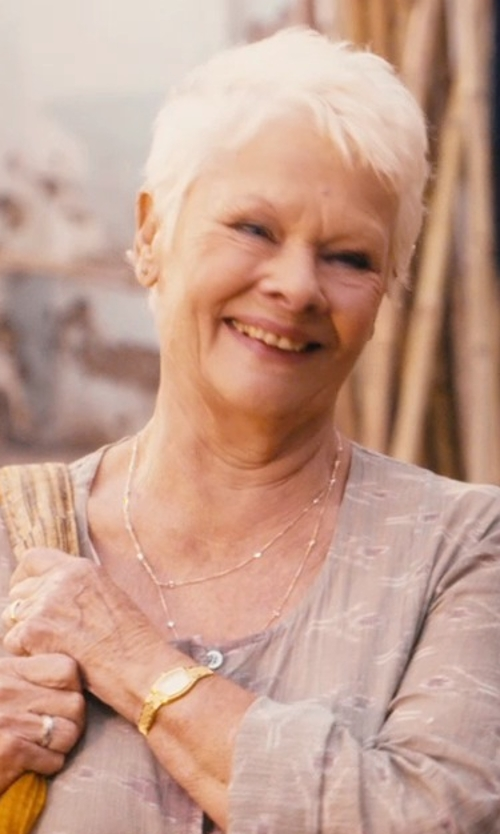 Judi Dench with Kate Spade New York Tiny Hudson Gold-Tone Bracelet Watch in The Second Best Exotic Marigold Hotel